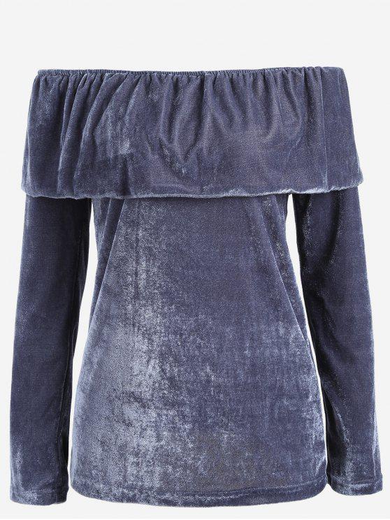Blouse en Velours Volantée à épaules Dénudées - Bleu-gris S