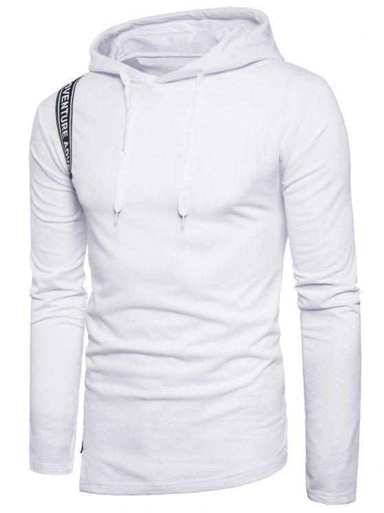 الرسم سلفيدج منمق لوحة البلوز هوديي - أبيض 2XL
