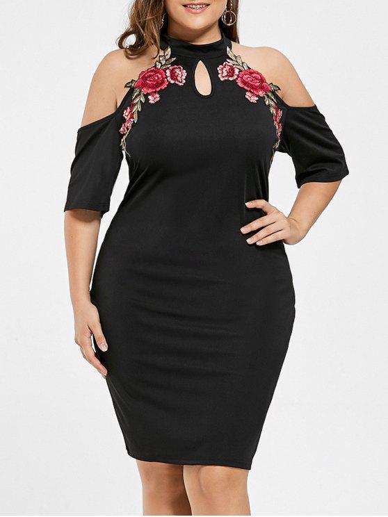 Vestido bordado con cuello en frío de boca ancha - Negro 3XL