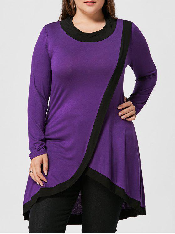 Plus Size High Low Tunika Surplice T-Shirt - Weinbeere 5XL
