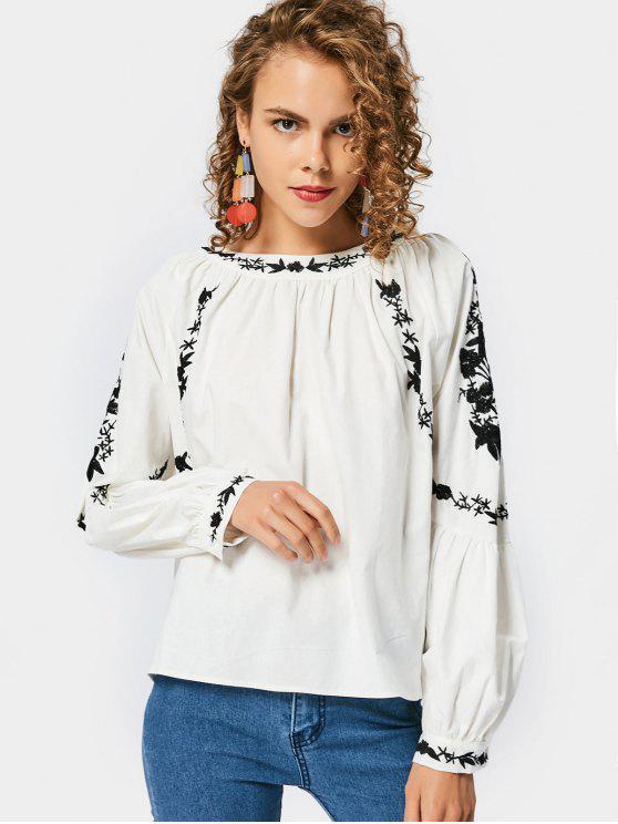 Loose Lantern Sleeve Blusa bordada - Branco S