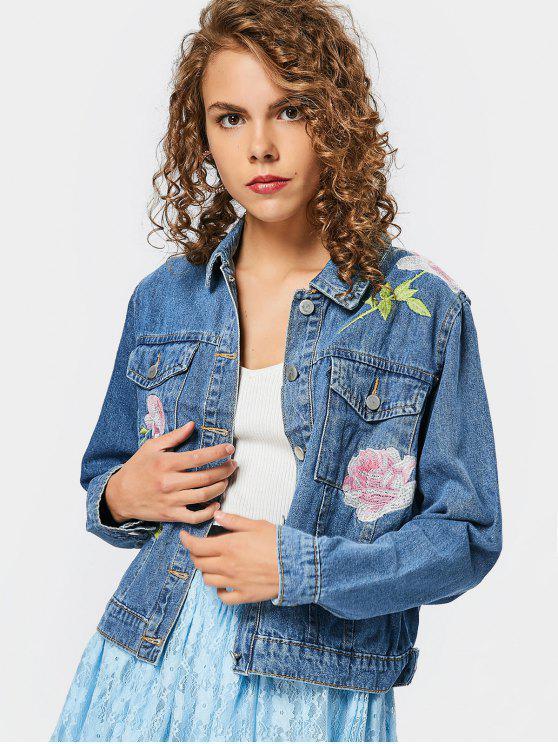 Botón bordado hasta chaqueta vaquera con bolsillos - Denim Blue M