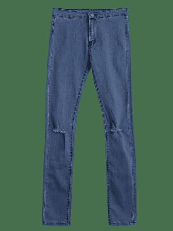 Jeans Détresse à Taille Haute - Bleu Toile de Jean M