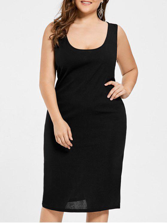 33% OFF] 2019 U Neck Plus Size Tank Dress In BLACK | ZAFUL