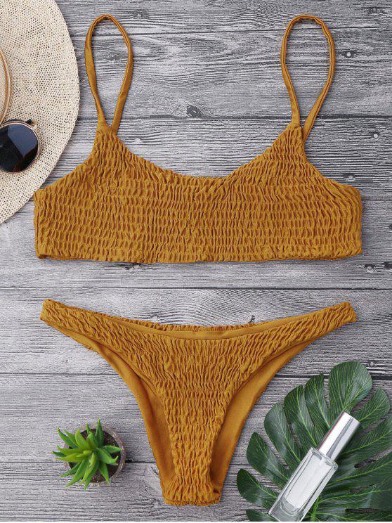 shop Smocked Bikini Top and Bottoms - LIGHT BROWN M