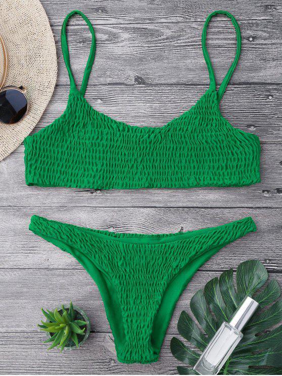 Top et Bas de Bikini Smockés - Vert Foncé M