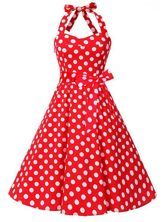 Red White Oben Weinlese Deep Pin Backless Herauf Schnüren Sich Halter Blue Black Kleid tChsrdQoxB