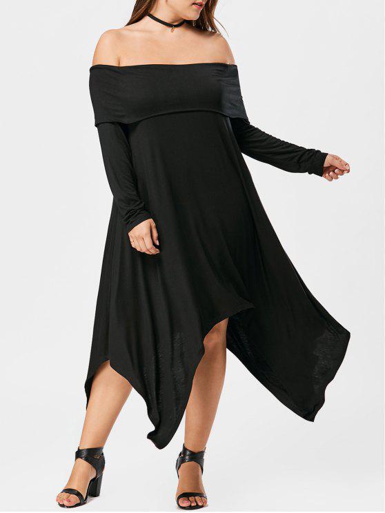 زائد حجم قبالة الكتف فستان ماكسي - أسود 4XL
