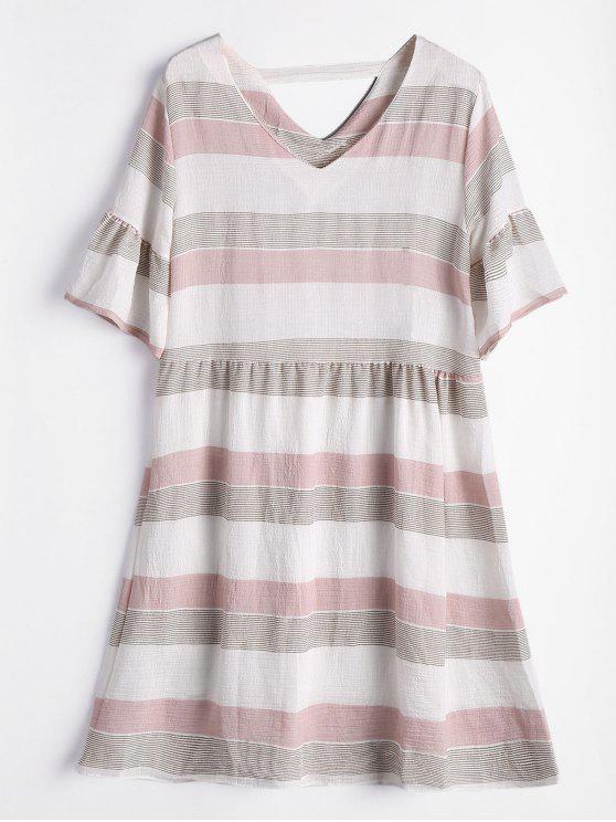 فستان مخطط ذو فتحات توهج الأكمام - الضحلة الوردي XL