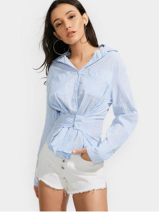 Botón de la camisa de rayas con bolsillos - Azul Claro L