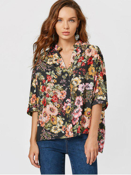 shops Button Up Floral Print Side Slit Blouse - FLORAL S