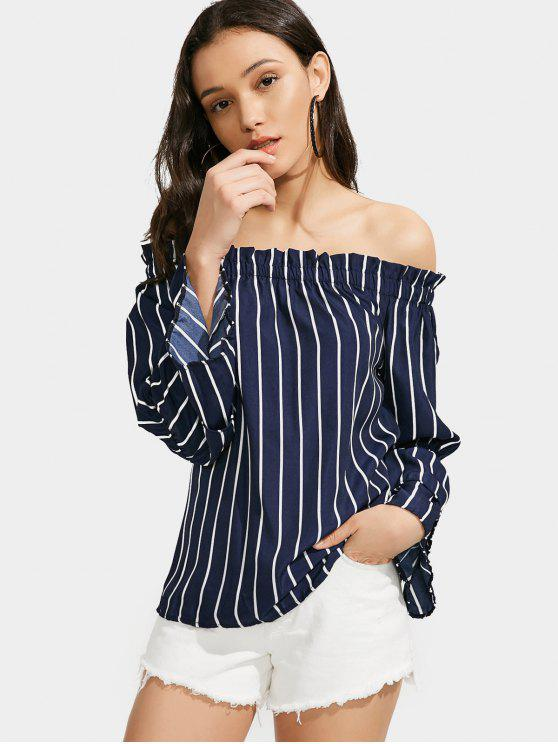 women Off The Shoulder Tiered Sleeve Striped Blouse - STRIPE M