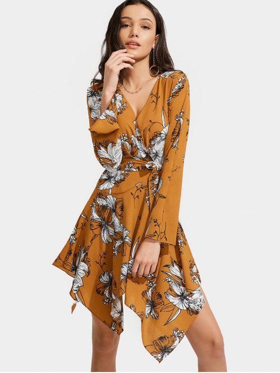 lady Floral Print Belted Asymmetric Dress - FLORAL M