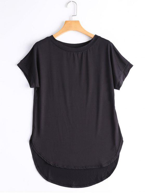 T-shirt Haut-Bas Simple Col Rond - Noir L