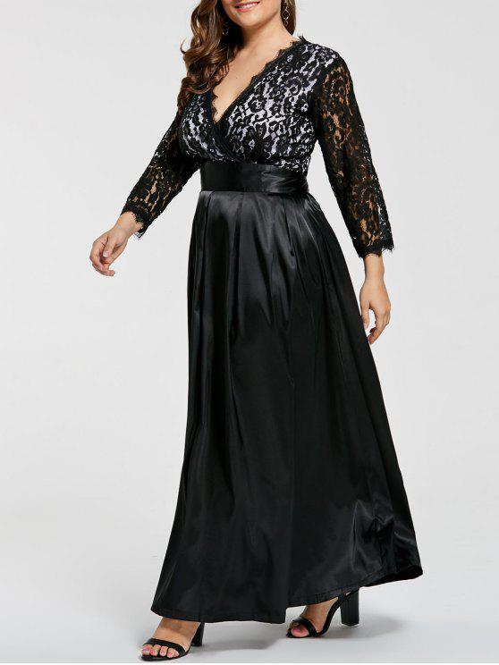 77f47838522 45% OFF] 2019 Plus Size Lace Sleeve V Neck Maxi Formal Dress In ...