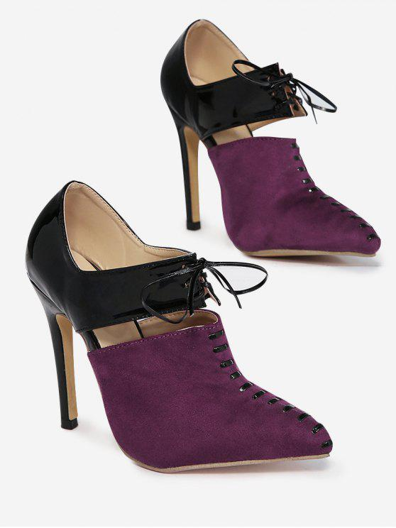 unique Tie Up Stiletto Heel Two Tone Pumps - PURPLE 38