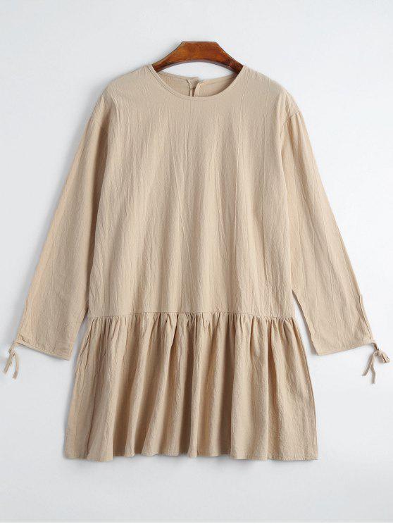 Robe à Boutons Décoratifs à Manches Longues - Abricot M