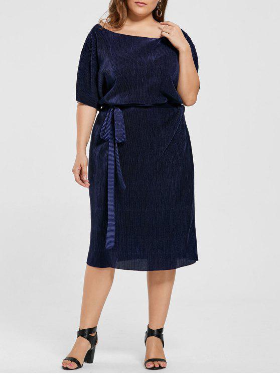 Plus Size Pleated Batwing Sleeve Dress DEEP BLUE