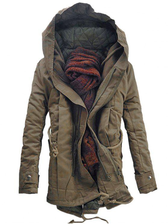 Hooded Double Zip Up Padded Parka Coat - Dark Khaki L
