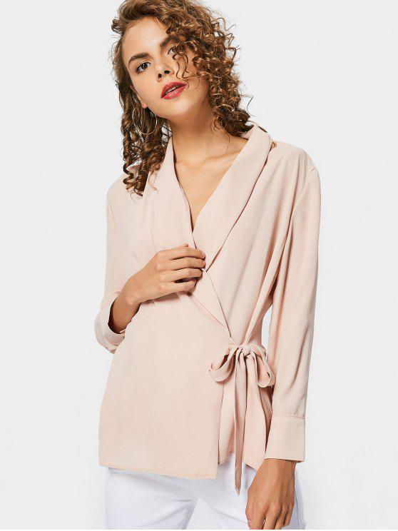 buy Fitting Chiffon Wrap Blouse - NUDE PINK L