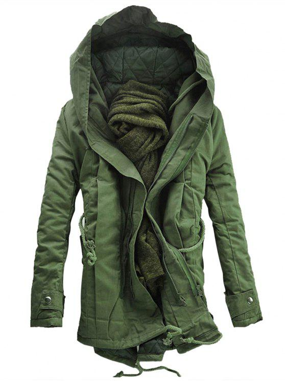 Abrigo de parka acolchado con cremallera doble con capucha - Verde del ejército 2XL