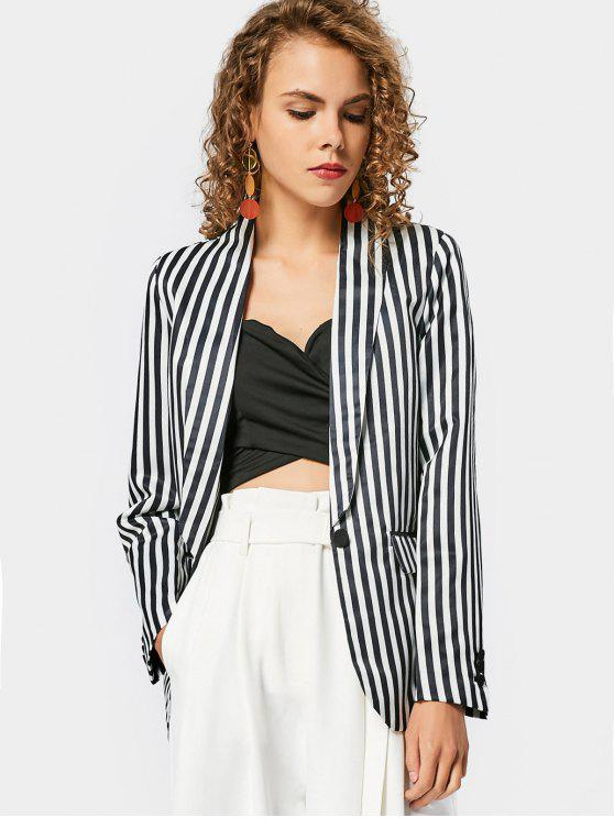 unique Stripes Flap Pockets Blazer - STRIPE M