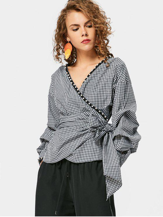 hot Checked Faux Pearl Wrap Blouse - CHECKED M