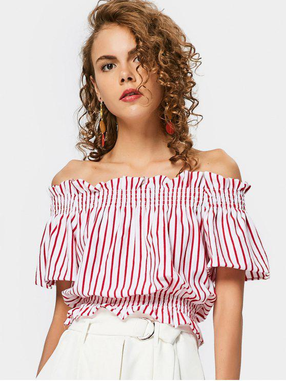 edf9709e5e7d 32% OFF  2019 Ruffled Smocked Panel Off Shoulder Top In STRIPE
