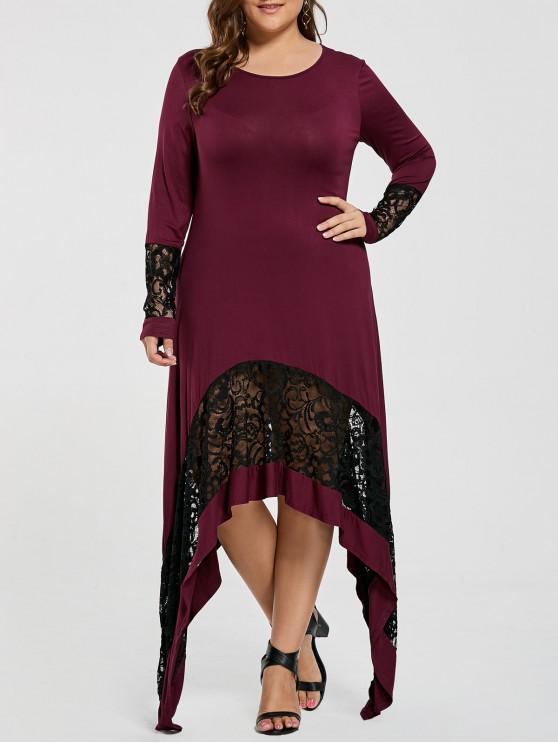 فستان تي شيرت الحجم الكبير دانتيل التريم طويل غير متماثل - الدم الأحمر 5XL