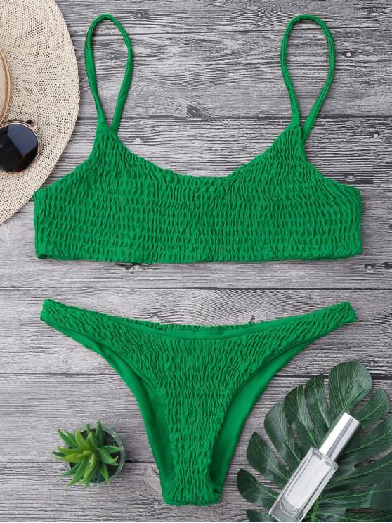 fashion Smocked Bikini Top and Bottoms - DEEP GREEN S
