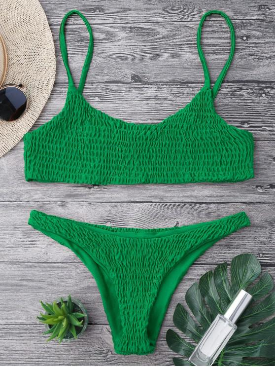 latest Smocked Bikini Top and Bottoms - DEEP GREEN L