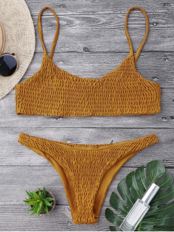 shops Smocked Bikini Top and Bottoms - LIGHT BROWN S