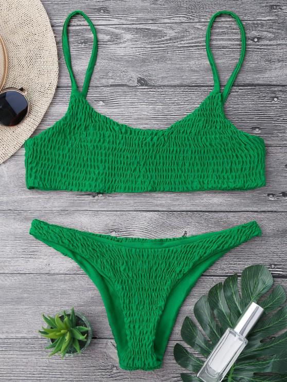 trendy Smocked Bikini Top and Bottoms - DEEP GREEN M