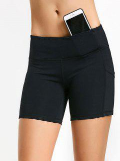 Active Pockets Workout Shorts - Black M