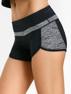 Color Block Heathered Workout Shorts - Black And Grey S