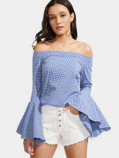 Off The Shoulder Flare Sleeve Checked Blouse - Blue Xl