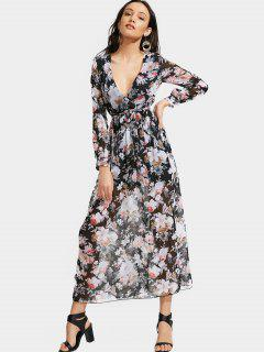 Plunging Neck Floral Print Belted Dress - Black L