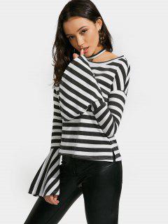 Drop Shoulder Flare Sleeve Striped Tee - Black