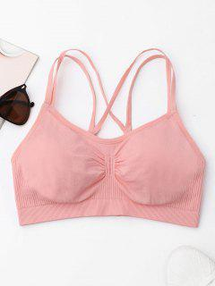 Strappy Cross Sports Bra - Pink M