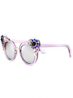 Faux Crystal Gemstone Inlay Anti UV Sunglasses - Purple