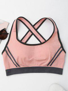 Crisscross Contrast Trim Sports Bra - Pink S