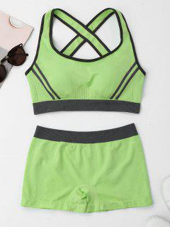 Contrast Trim Crisscross Sports Suit - Apple Green L