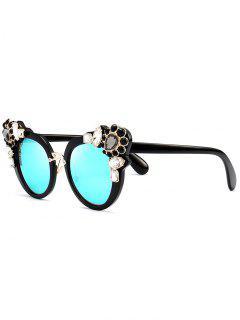 Faux Crystal Gemstone Inlay Anti UV Sunglasses - Ice Blue