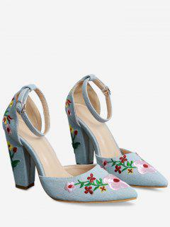 Embroidery Block Heel Two Piece Pumps - Light Blue 38