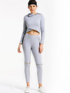 Asymmetric Crossover Hoodie With Jogger Pants - Gray M