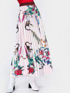 Animal Floral Maxi Pleated Skirt - Pink L
