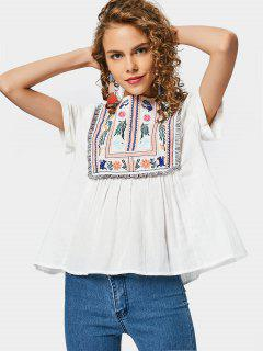 Curled Sleeve Embroidered Tassels Blouse - White M