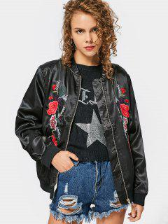 Zip Up Embroidered Souvenir Jacket - Black Xs