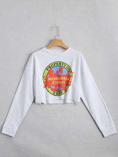 Drop Shoulder Letter Print Crop Sweatshirt - White M