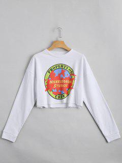 Sweat-shirt Court Imprimé Lettre Épaules Tombantes - Blanc L